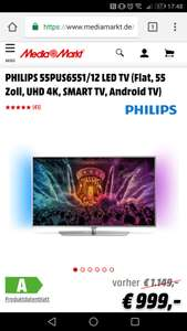 [LOKAL] PHILIPS 55PUS6551/12 LED TV (Flat, 55 Zoll, UHD 4K, SMART TV, Android TV)