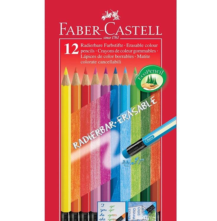 [Amazon Plus Produkt] Faber-Castell 116612 Radierbare Buntstifte mit Gummitip, 12er Kartonetui