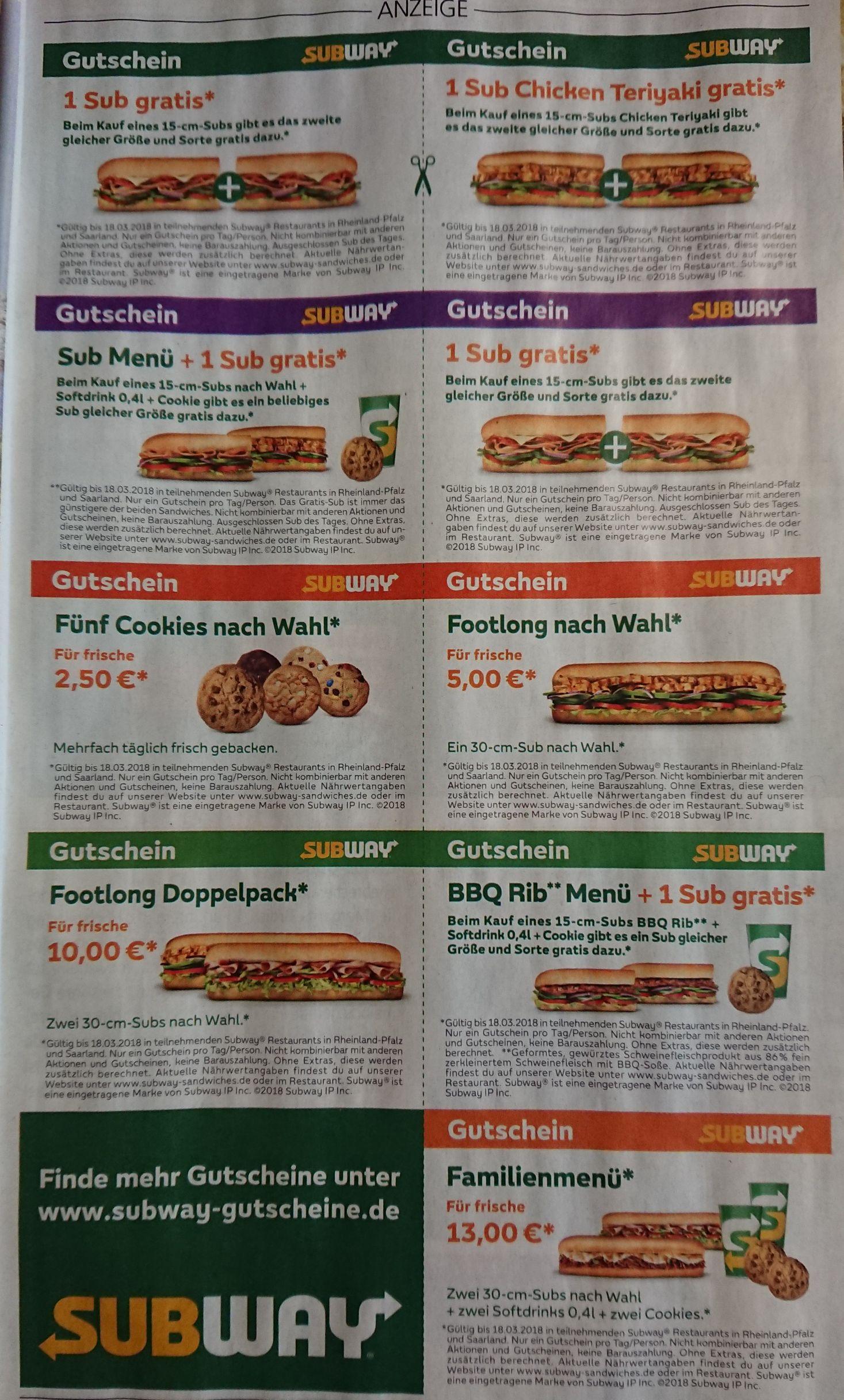 Subway Gutscheine für Rheinland-Pfalz und das Saarland
