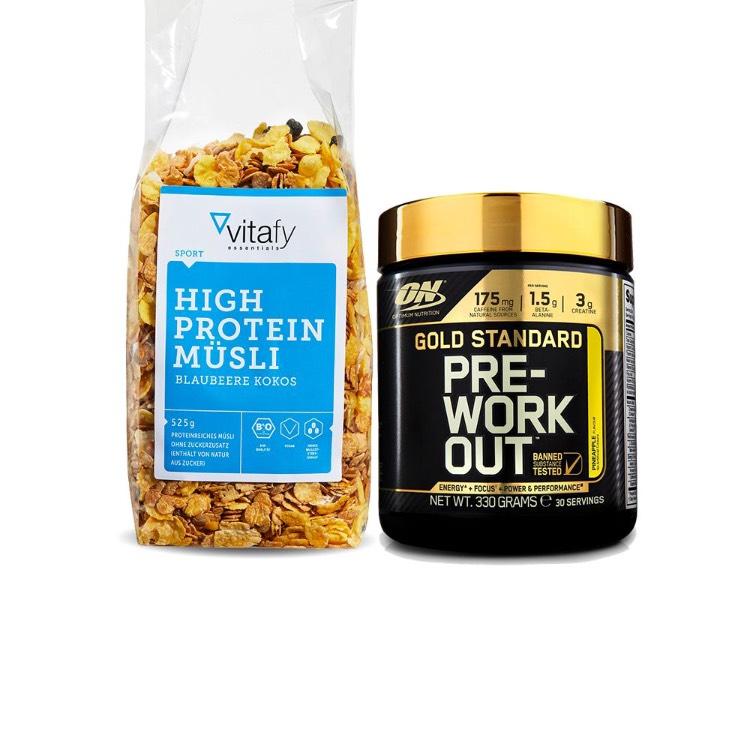 Vitafy [MHD] 28.02.18 Optimum Nutrition Pre-workout + Vitafy Essentials High Protein Müsli