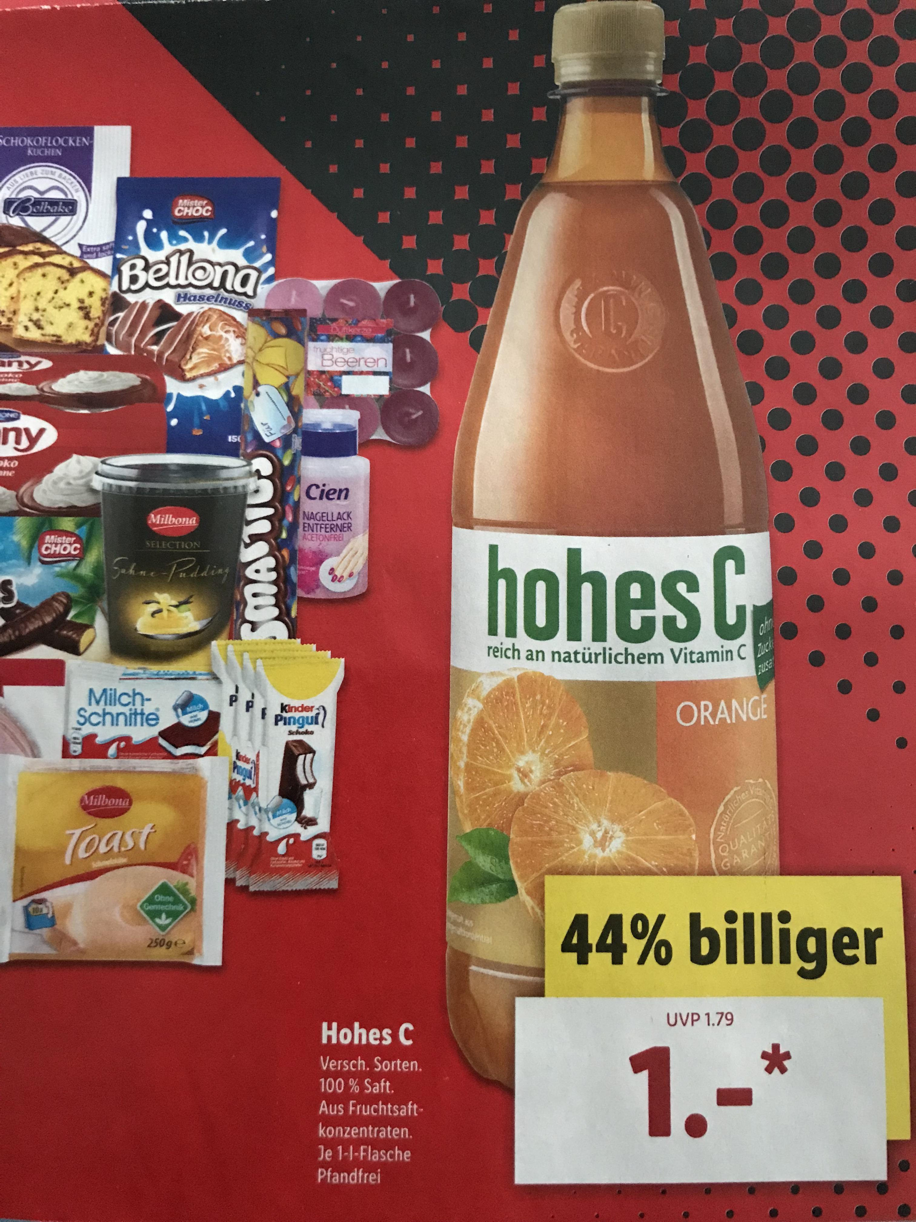 [LIDL] Hohes C - 1-Liter-Flasche für 1,00 €