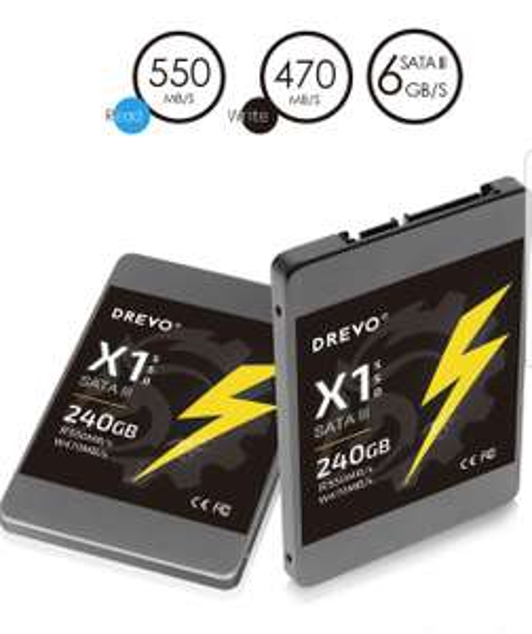 [Amazon.Blitzangebot] Drevo x1Series 240GB SSD 2,5Solid State Drive SATA3Lesen 550MB/s Schreiben 470m/s