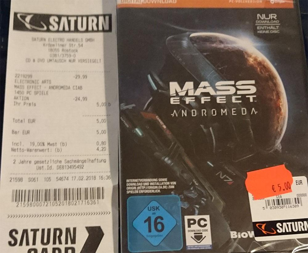 [Lokal Saturn Rostock] Mass Effect Andromeda (PS4/PC) für 5€