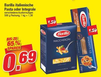 [Marktkauf Nordbayern/Sachsen/Thüringen ab 19.02.] Barilla Nudeln 500 g-Packung (auch Integrale)