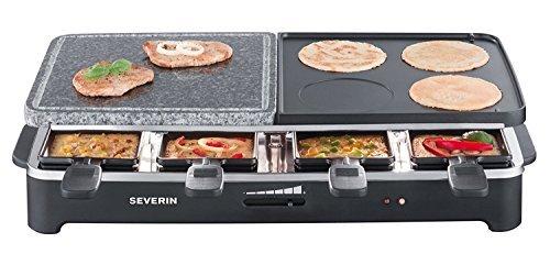 Amazon Tages Angebot - Severin RG 2341 Raclette-Partygrill mit Naturgrillstein (1500 W, 8 Pfännchen) schwarz