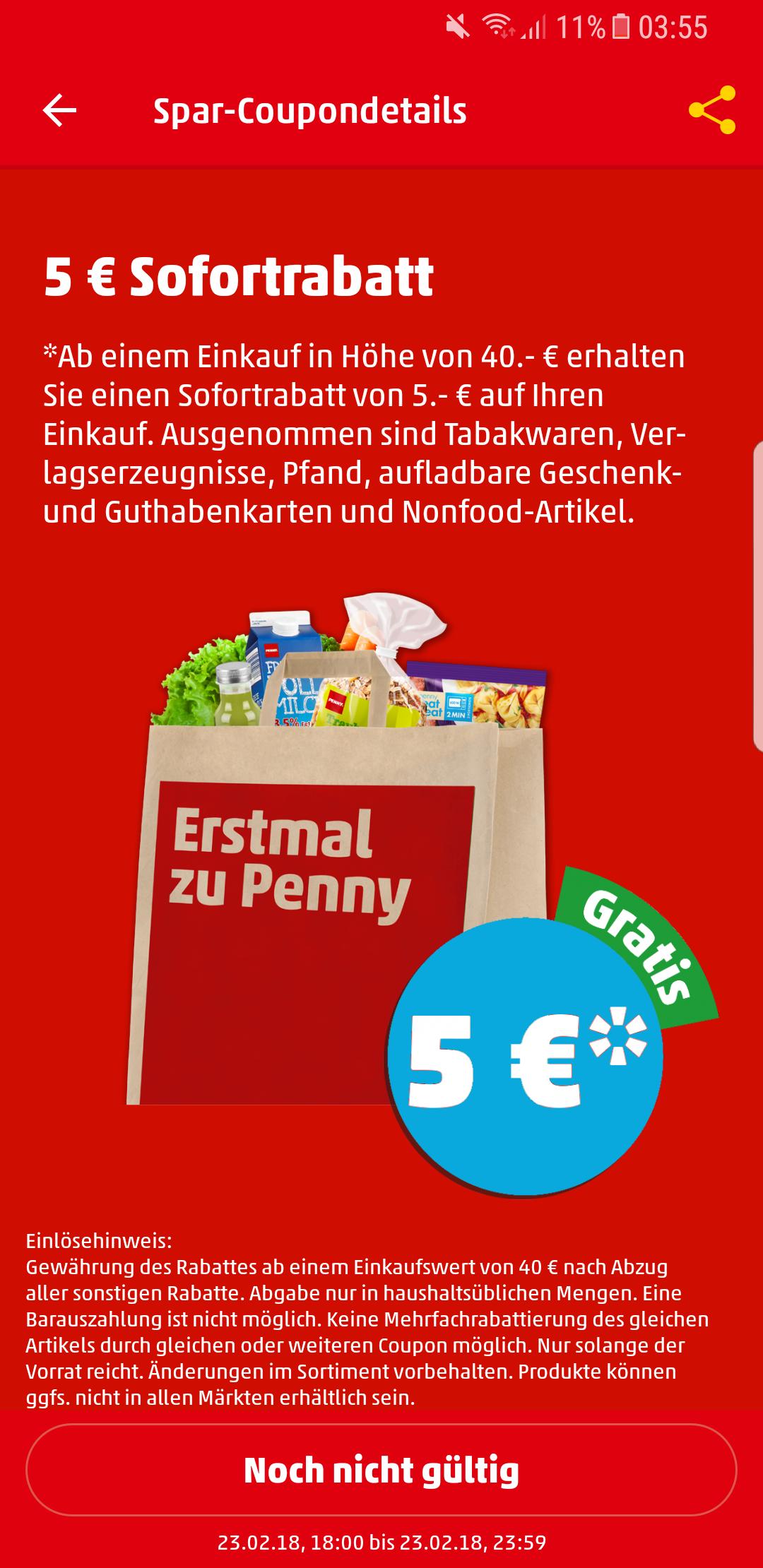 [Penny] 5€ Abzug ab einem Einkauf von 40€ am 23.02.18 [weitere Angebote im Text]