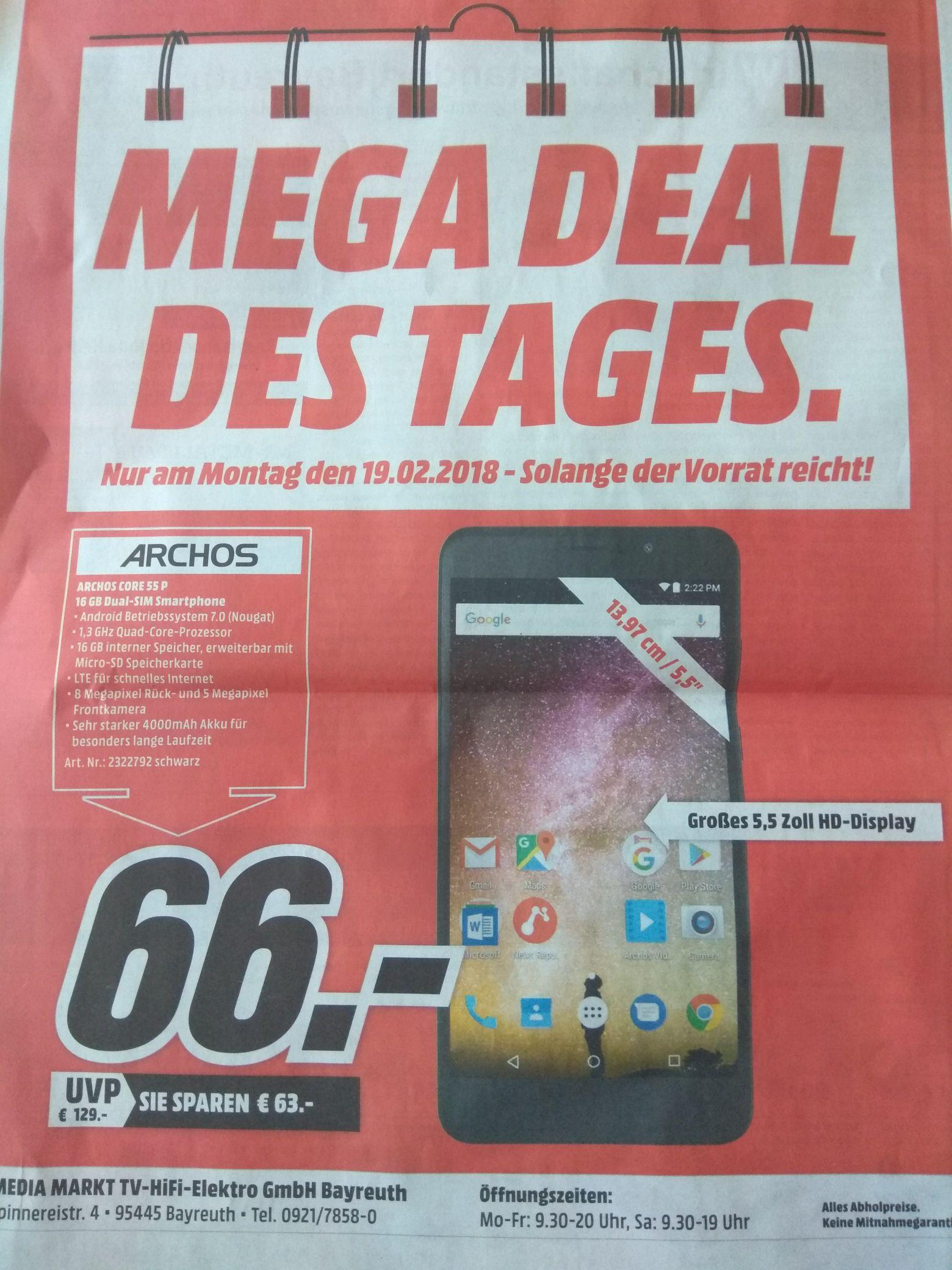 [lokal Media Markt Bayreuth] Archos Core 55 P 16 GB Dual-SIM