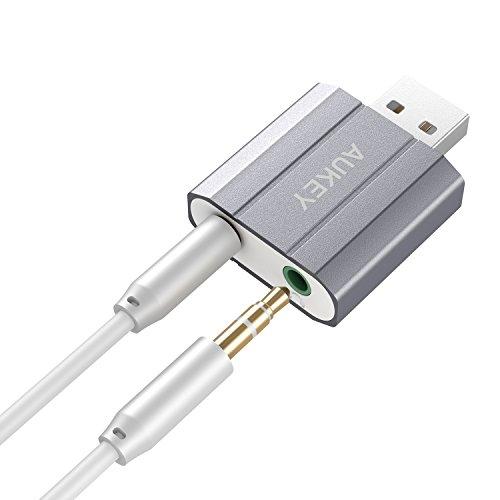 Amazon Prime (Plus Produkt): AUKEY Externe Soundkarte USB auf 3.5mm Audio Jack Stereo Sound Adapter für Windows / Mac / Linux Externe Audio Quelle mit Mikrofon