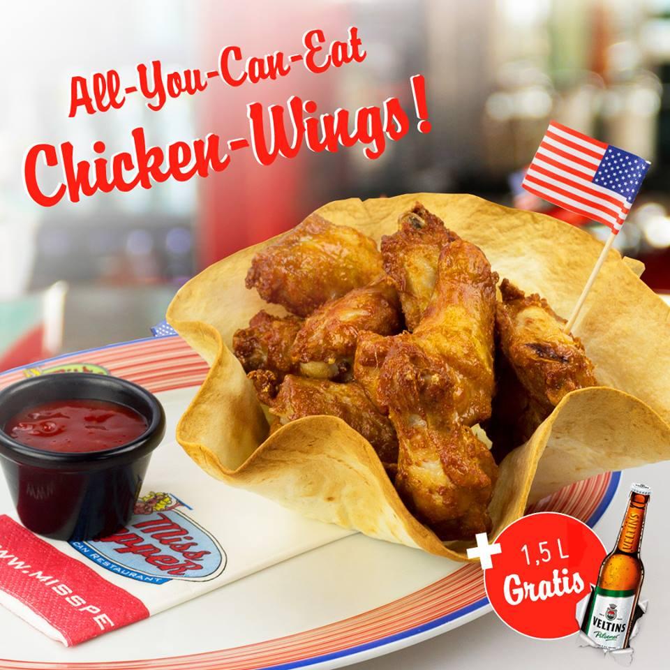 Chicken Wings - All You Can Eat für nur 14,95€ (+ 1,5l Veltins) bei Miss Pepper American Restaurants am 19. & 20.02.2018