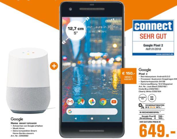 [Regional Saturn - Märkte in Berlin] Google Pixel 2 64GB Smartphone (12,7 cm/5 Zoll, 64 GB Speicherplatz, 12 MP Kamera) in 3 Farben + GOOGLE Home, Smart Speaker mit Sprachsteuerung für 649,-€