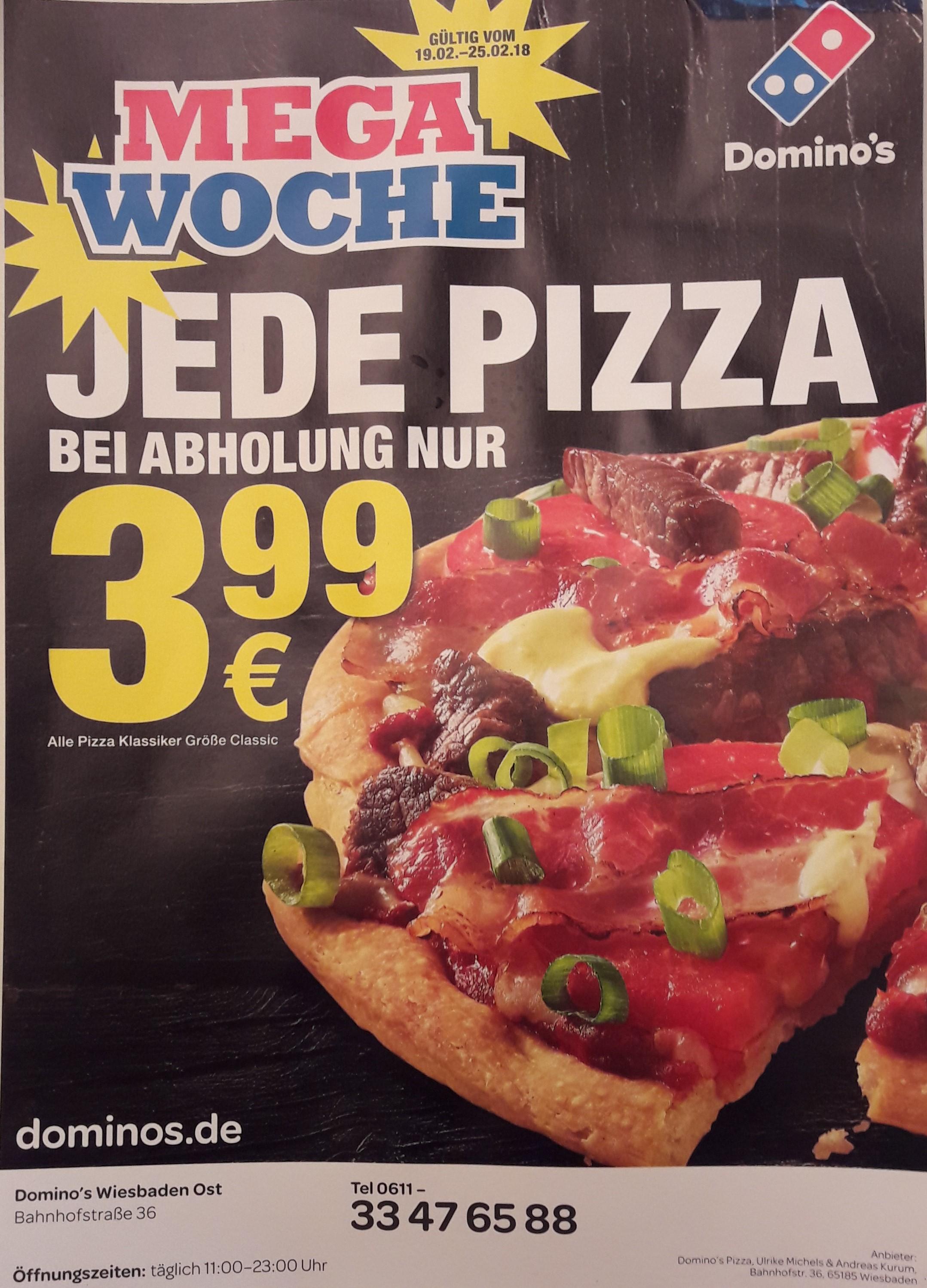 Domino's: MEGA WOCHE Jede Pizza bei Abholung 3,99 € (Größe Classic) (bundesweit)