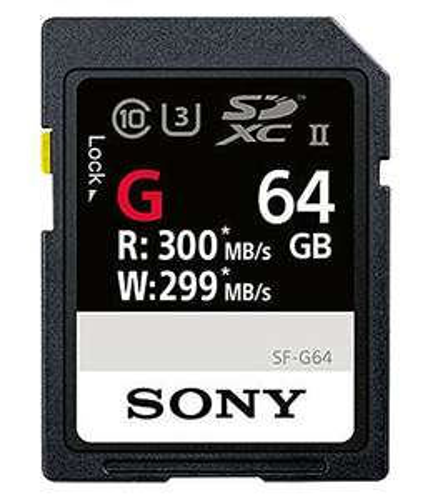Sony SF-G64/T1 High Performance 64GB SDXC UHS-II Class 10 U3 Memory Card