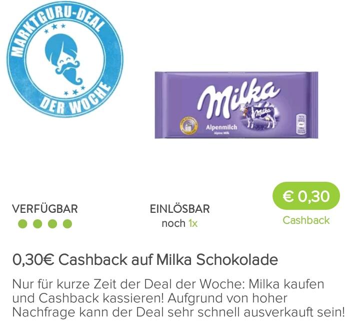 [Kaufland mit Marktguru-App] 1x Tafel Milka für 0,35€/0,36€