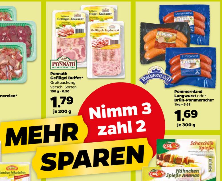 Scotti Netto Aktion Kauf 3 Bezahle 2  Pommerland, Lungwurst oder Brüh-Pommersche (auch gemischt) 900g