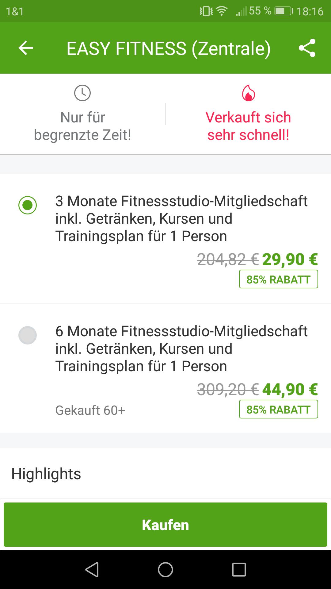 Lokal Easy Fitness Hannover Zentrum 3 oder 6 Monate