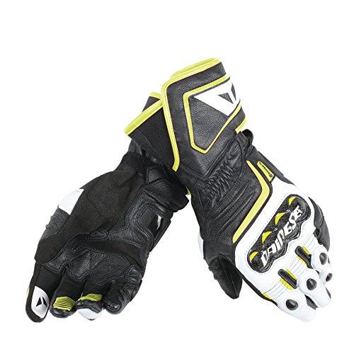 Dainese Carbon D1 Long Motorradhandschuhe, Schwarz/Weiß/Fluo Gelb, Größe XL und XXL