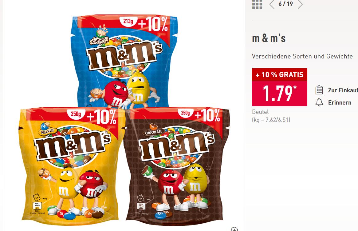 Aldi Nord M&M's verschiedene Sorten im 235g/275g  kg = 7.62€/6.51€