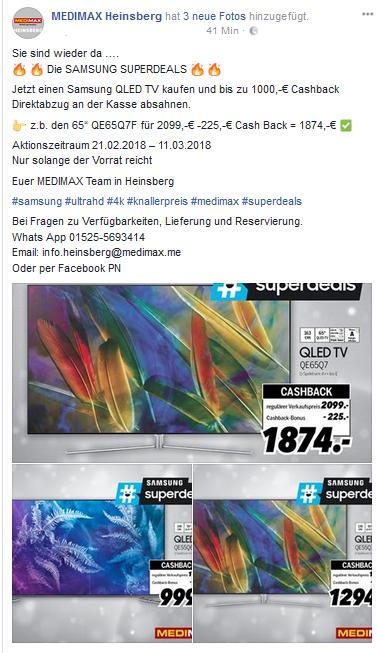 Samsung Superdeals QLED QE65Q7F für 1874,-EUR bei Medimax in Heinsberg