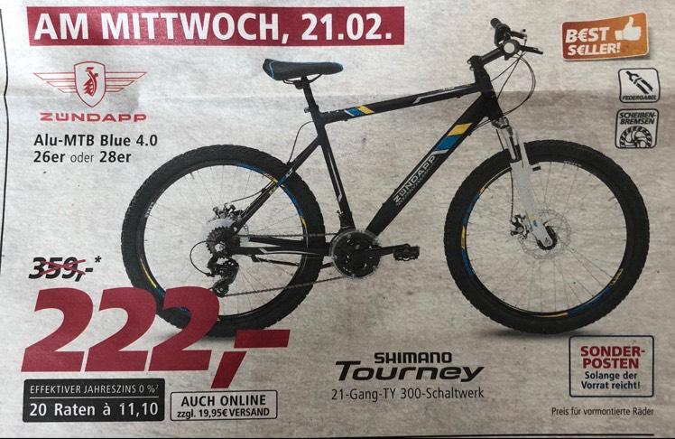 Zündapp MTB Blue 4.0 26er oder 28er Shimano Fahrrad