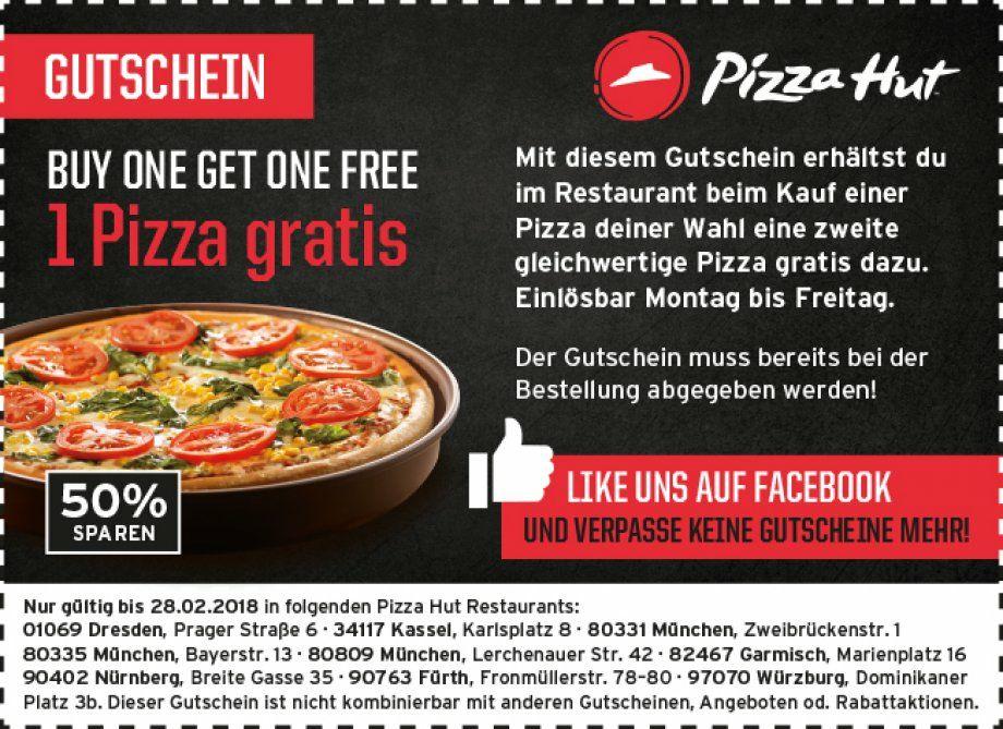 Pizzahut eine Pizza gratis bei Kauf einer Pizza (lokal/ausgewählte Restaurants)