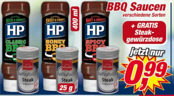 Postenbörse HP BBQ-Sauce versch. Sorten 400ml + gratis Steakgewürzsalz für 0,99€