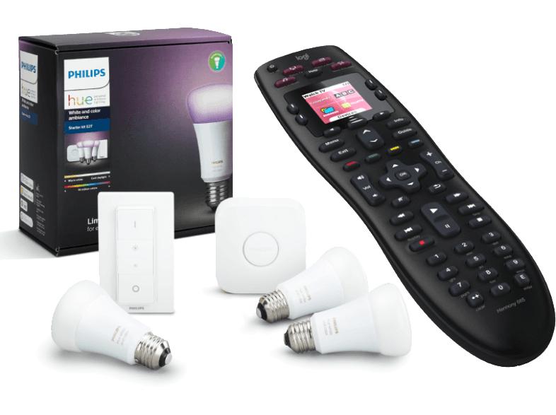PHILIPS Hue Starter Kit LED 10W, E27, 3er Pack + Logitech Universal Fernbedienung Harmony 665 Advanced für 188€ [mediamarkt.at]