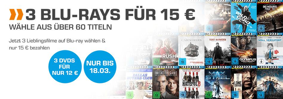 (3 Blu-rays für 15€) z.B The Hateful 8 (Blu-ray), The Cabin in the Woods (Blu-ray), Dallas Buyers Club (Blu-ray), Ziemlich beste Freunde (Blu-ray) uvm. (Saturn)