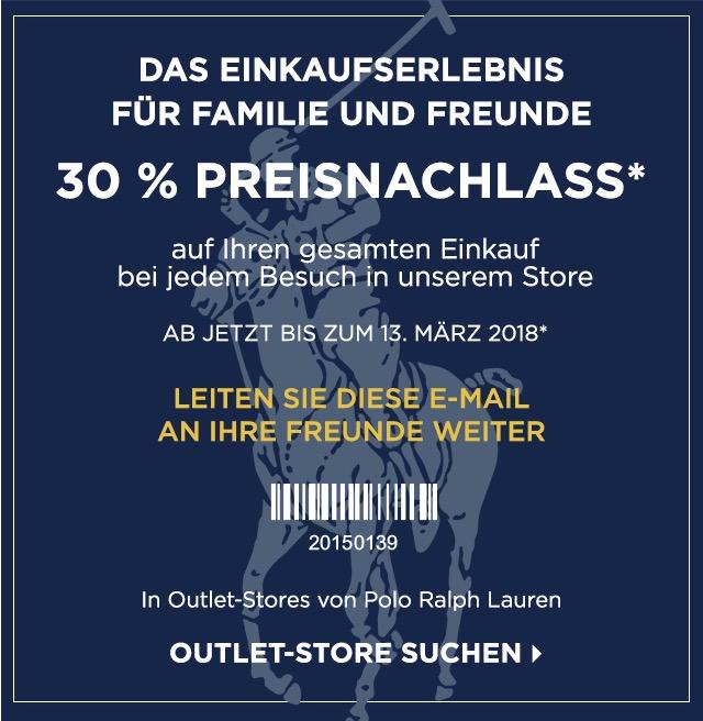 (LOKAL POLO RALPH LAUREN OUTLETS) 30% auf den gesamten Einkauf