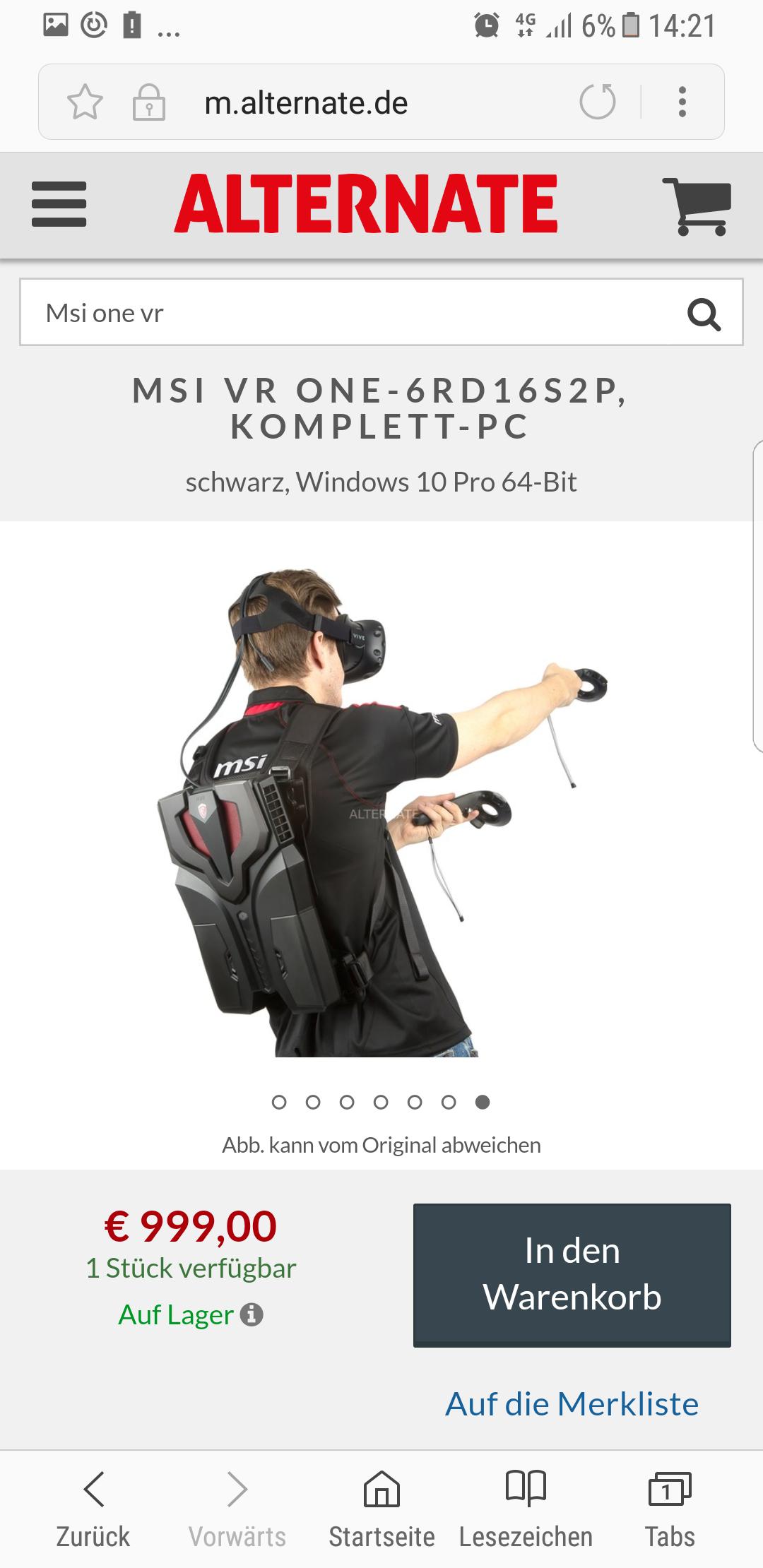 MSI Gaming VR Rucksack Alternate