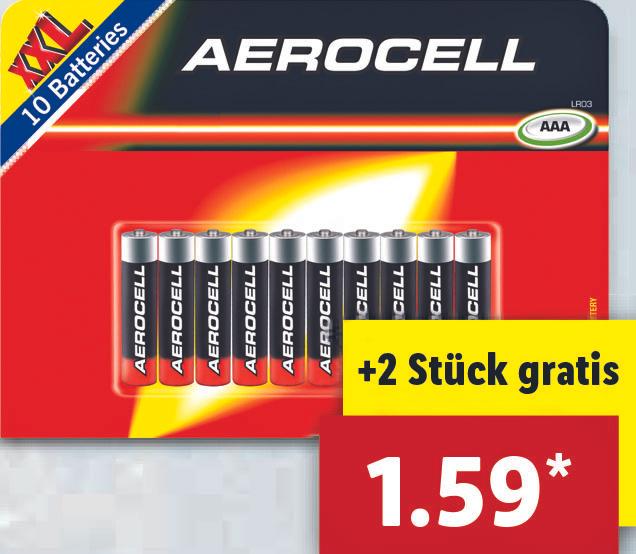 [Lidl ab 1.3.] 10 x Aerocell AAA Batterien für 1,59€