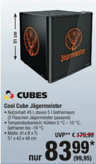 Jägermeister Kühlschrank CUBES Cool Cube zum BESTPREIS ab 01.03.18 METRO
