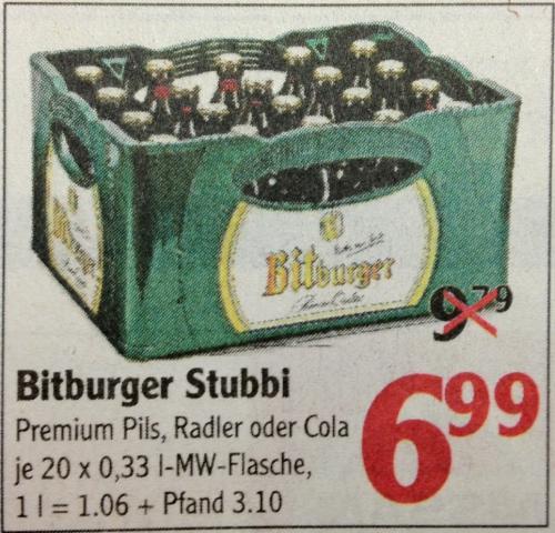 [LOKAL GLOBUS ZELL/MOSEL] Bitburger Pils Stubbi/Radler/Cola für 6,99 €/Kiste