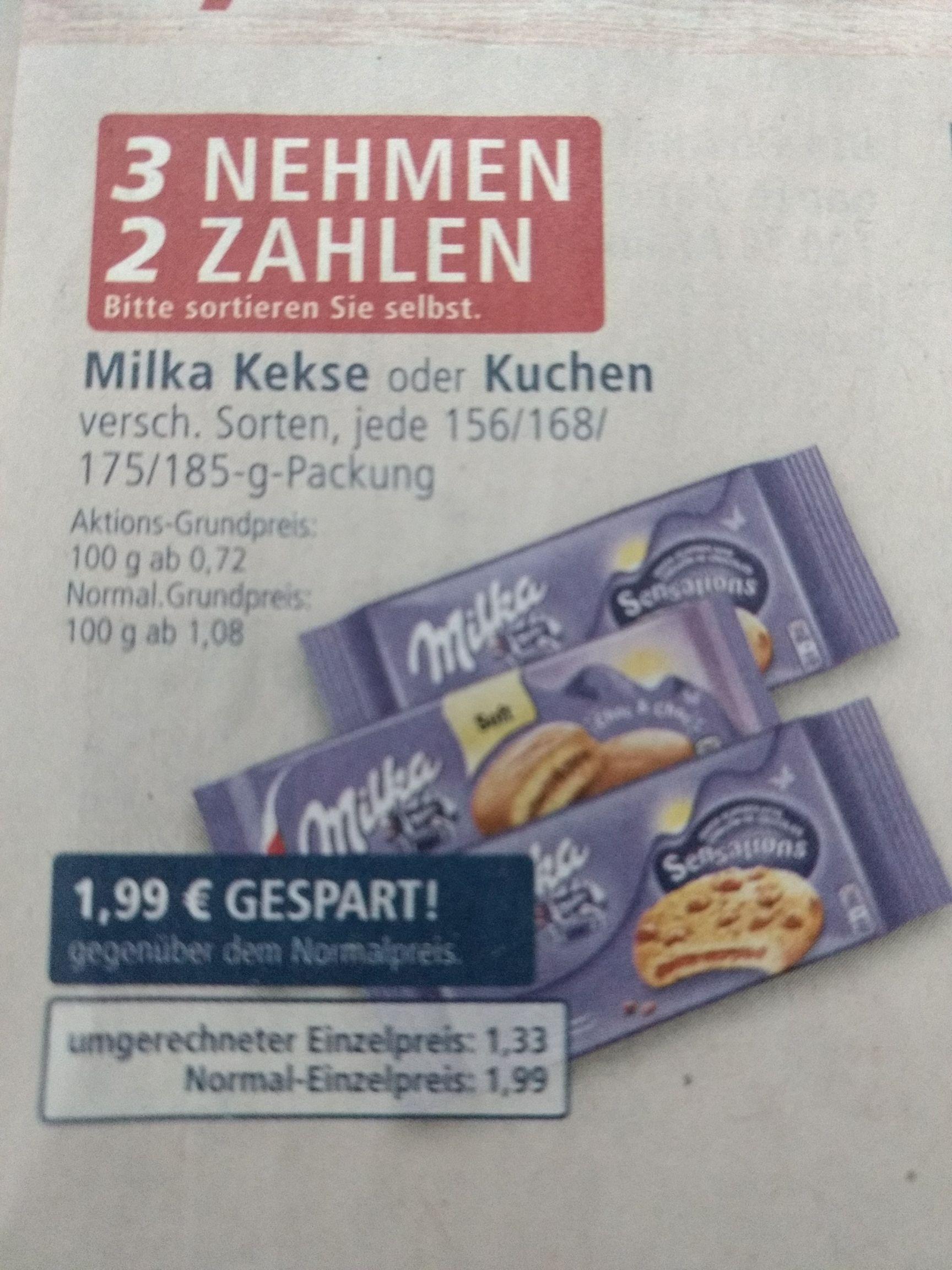 [Real] Milka Kekse/Kuchen 3 für 2 Aktion + 1€ Milka Coupon - effektiv 1 Euro die Packung ab 3 Stück