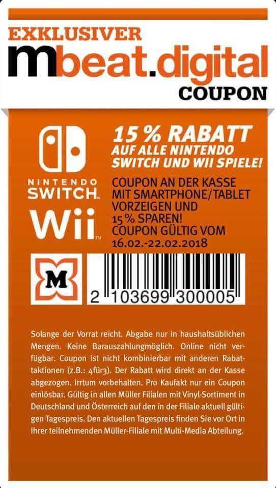 15% auf alle Wii sowie Nintendo Switch Spiele