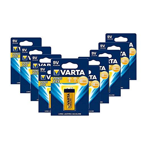 Varta 4122 10er-Pack Batterie Alkaline E Block für Feuermelder Rauchmelder Feuchtigkeitsmessgeräte, 9V [Amazon Prime]