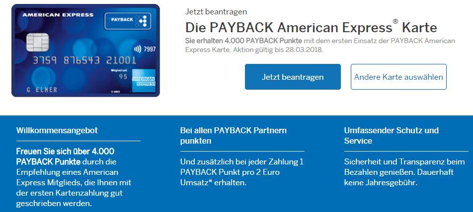 Payback American Express Kreditkarte mit 4.000 Punkten (entspricht 40€)