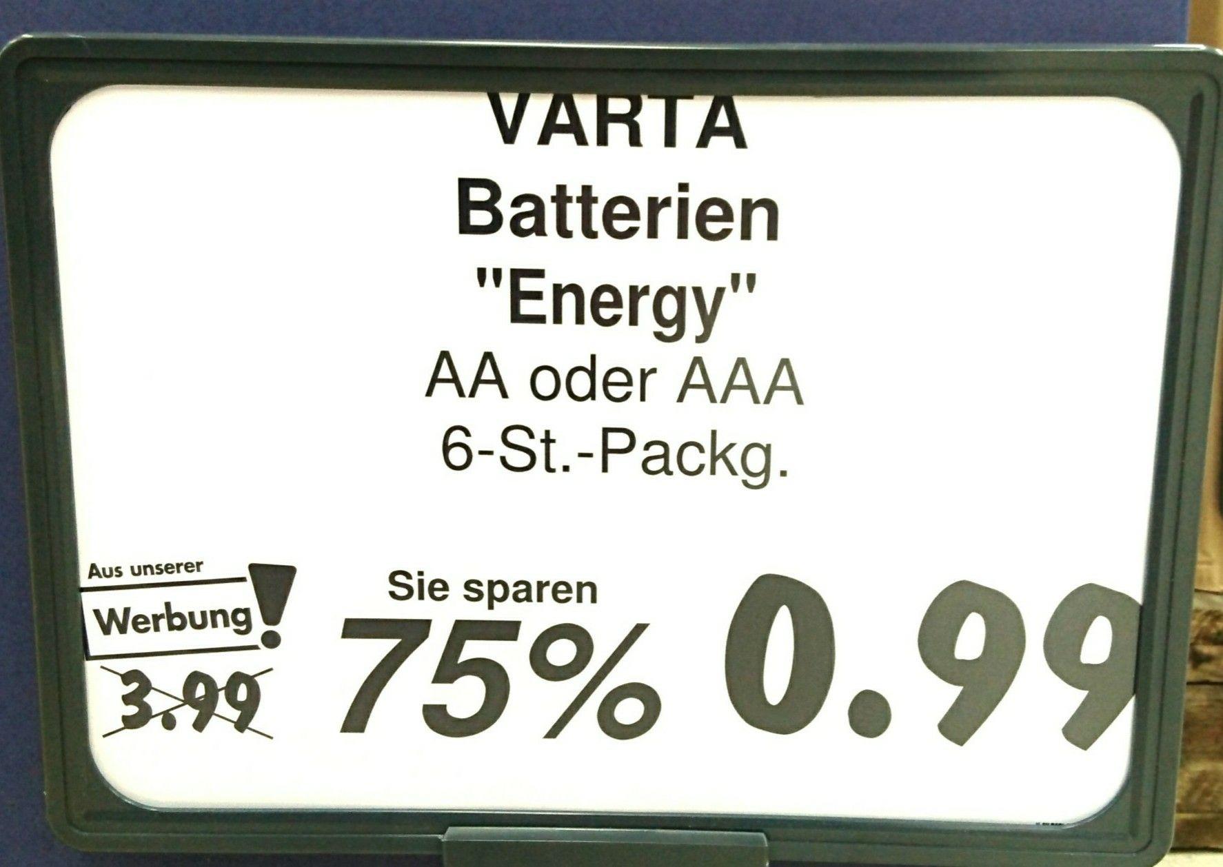 Varta Energy Batterien AAA oder AA im 6er-Pack für 0,99€ im Kaufland Coesfeld