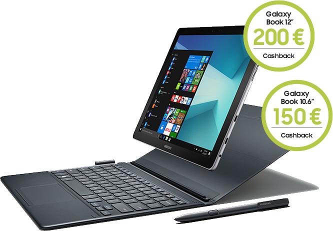 Galaxy Book 10.6 Wifi 2in1 Tablet Intel Core m3-7Y30 4GB 64GB Windows10 (Schwarz) abzüglich 150,-€ Cashback