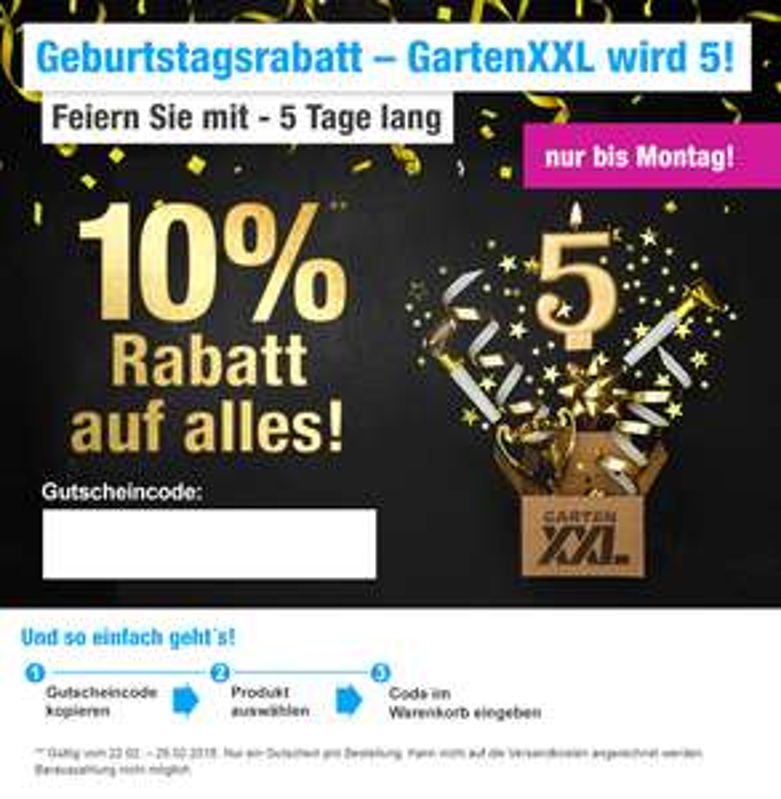 GartenXXL: 10% Rabatt auf Alles - Auch auf Artikel im Sale!