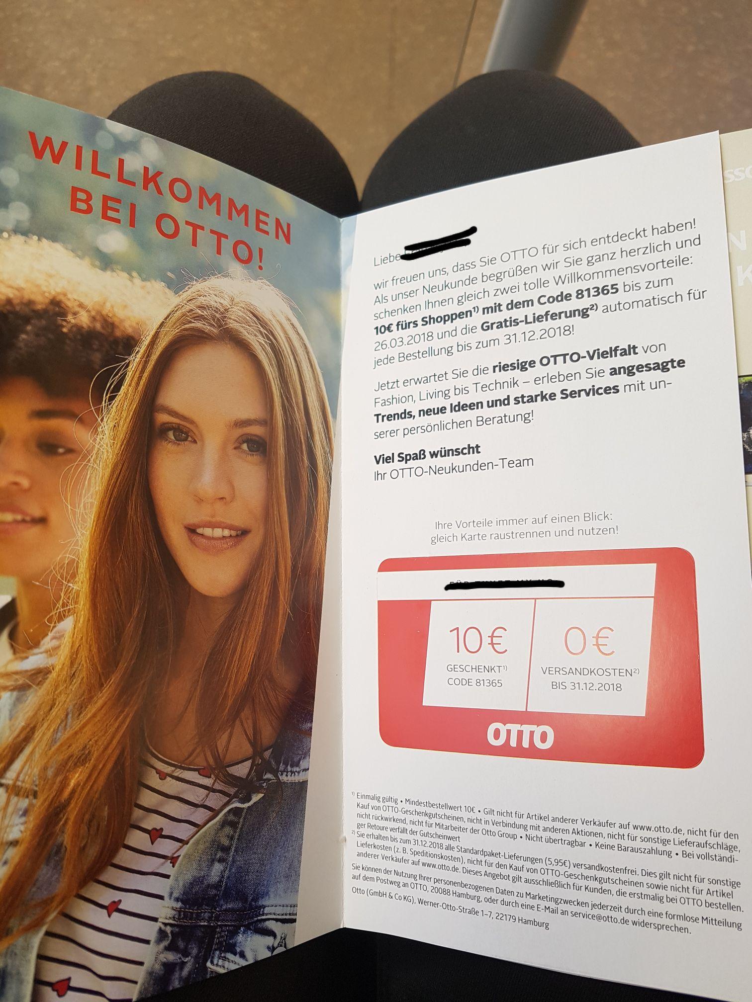 Gutschein OTTO -10€ mit 10€ MBW  (Freebies möglich)