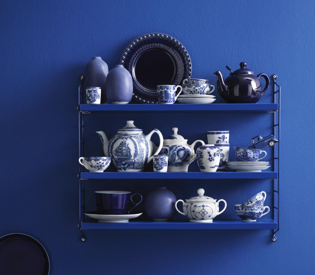 design klassiker string pocket regal in blau mit 10. Black Bedroom Furniture Sets. Home Design Ideas