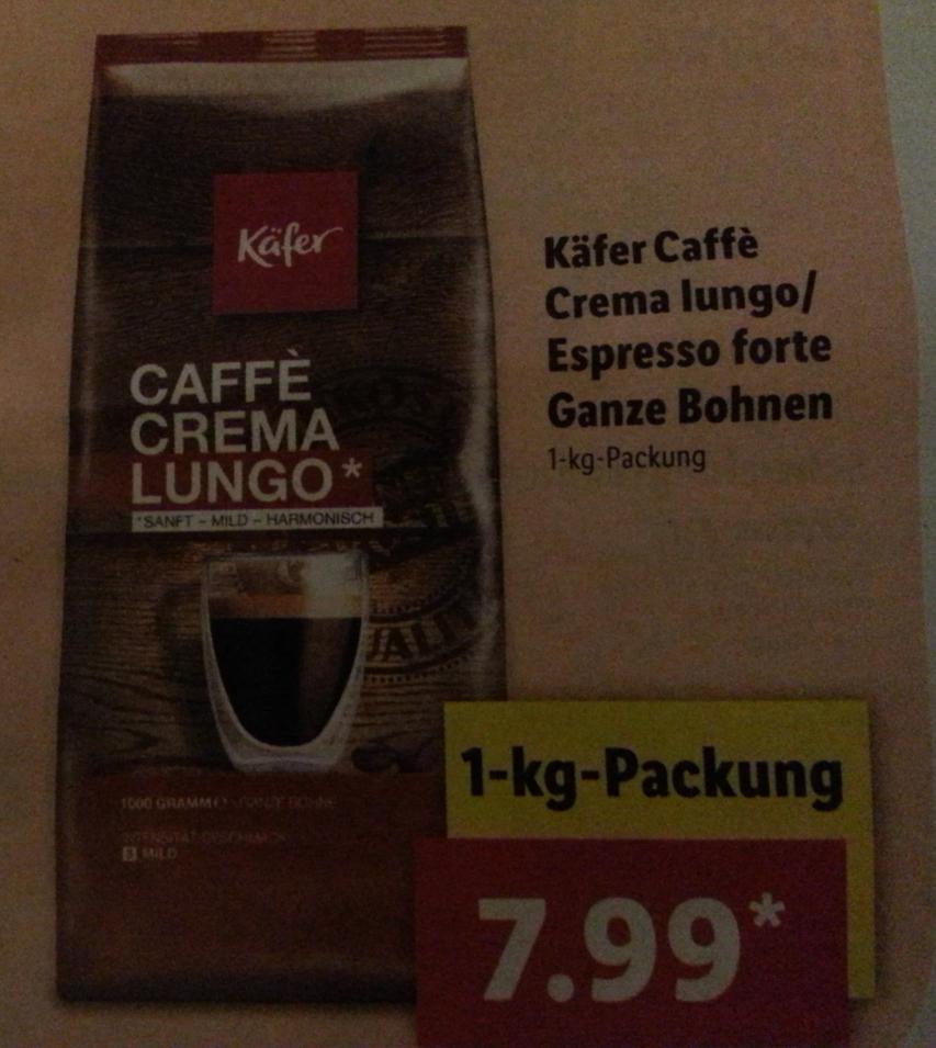 [Lidl] Käfer Caffè Lungo / Espresso forte ganze Bohnen für 7,99 €