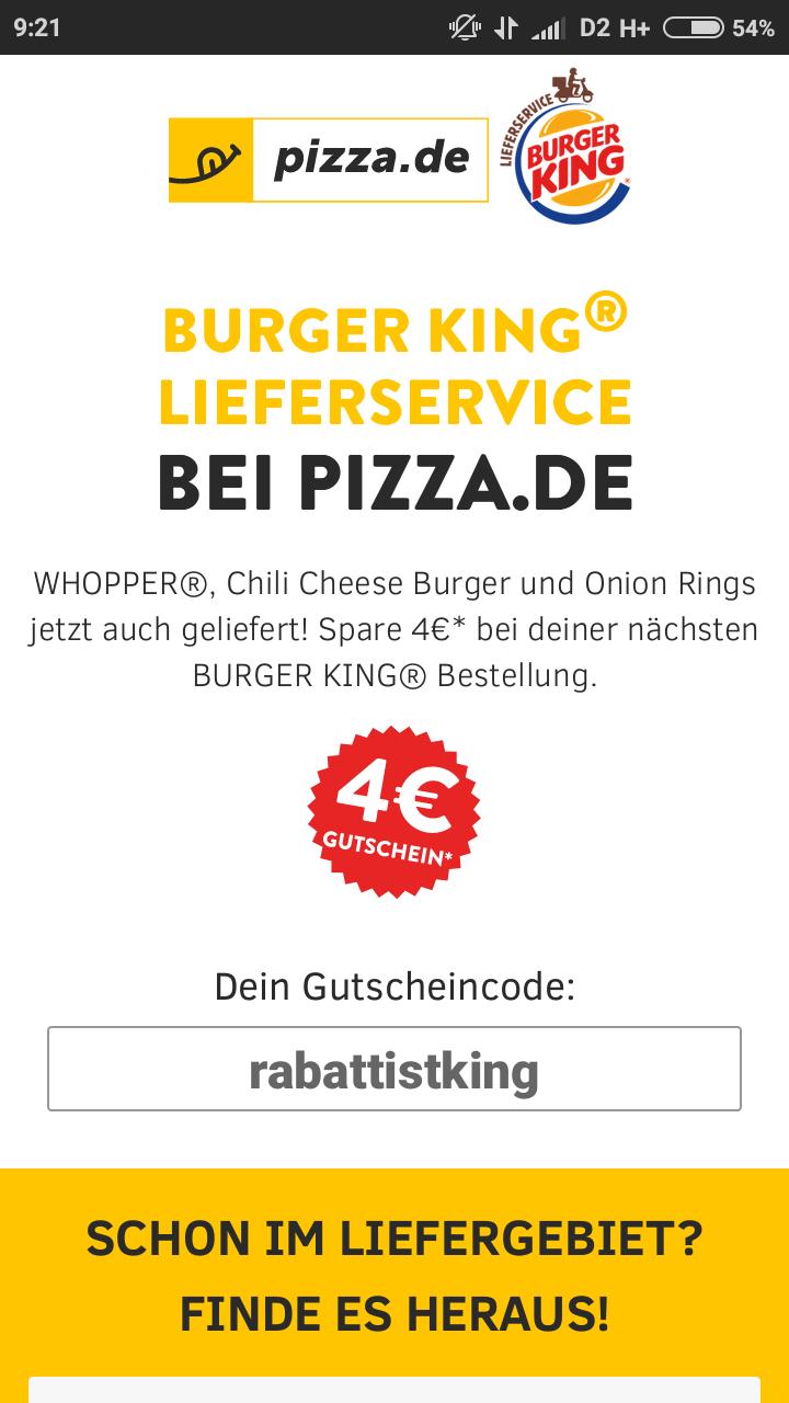 Burger King 4 € Rabatt bei 10 € MBW über pizza.de bis zum 19.03.2018