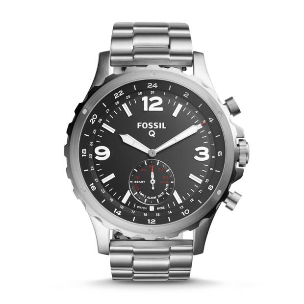 Fossil Herren Hybrid Smartwatch Q Nate - Edelstahl FTW1123