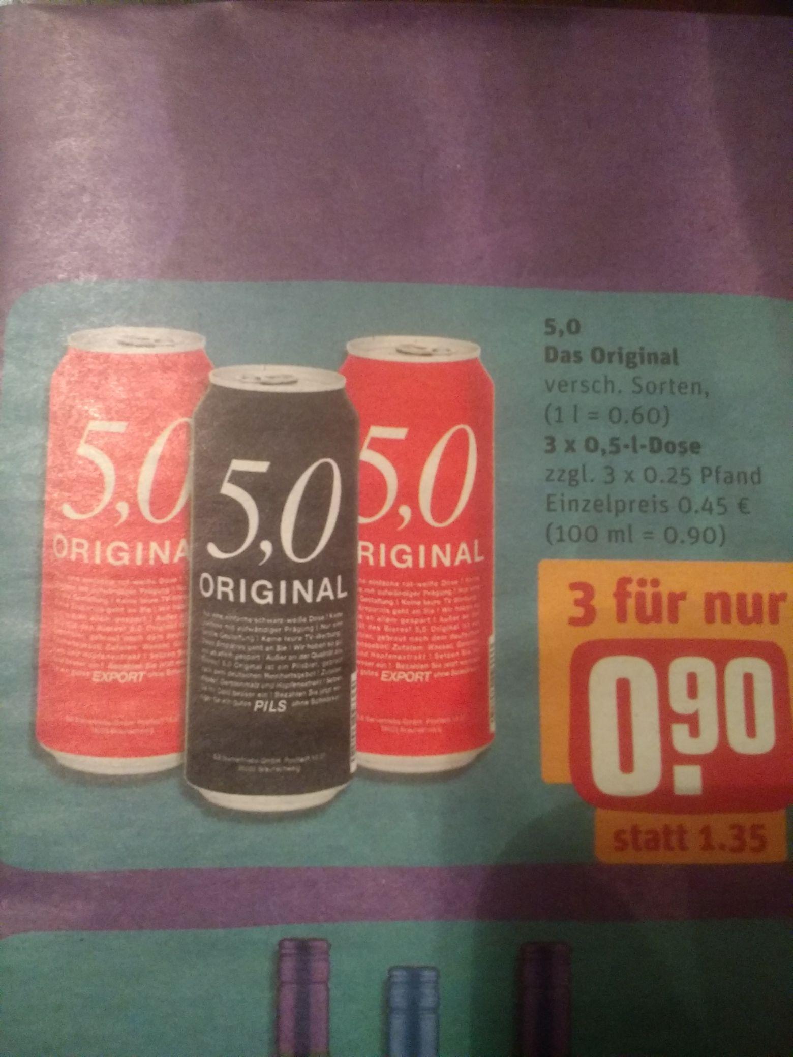 [REWE Center, ggf. lokal] 5.0 ORIGINAL Bier (Pils, Radler, Weizen oder Lemon); 3 Dosen für 0,90 €