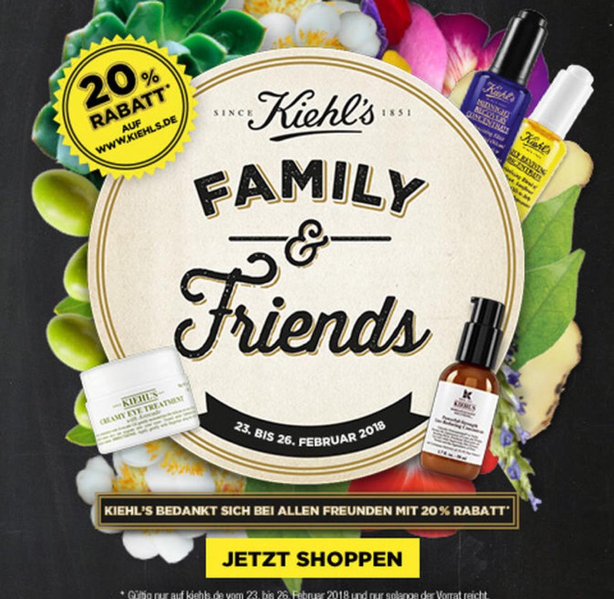 Nur noch heute 20% Family & Friends-Rabatt auf alle Produkte bei Kiehl's