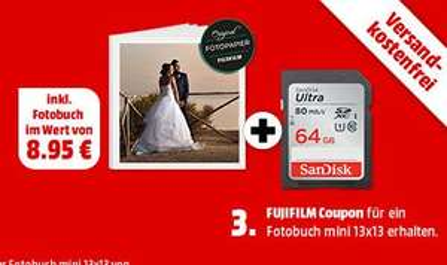 [Mediamarkt] SANDISK SDSDUNC-064G-GN6IN SDHC-Card 64GB, Ultra, U3, UHS-I inc. Fotobuch Gutschein für 19,-€