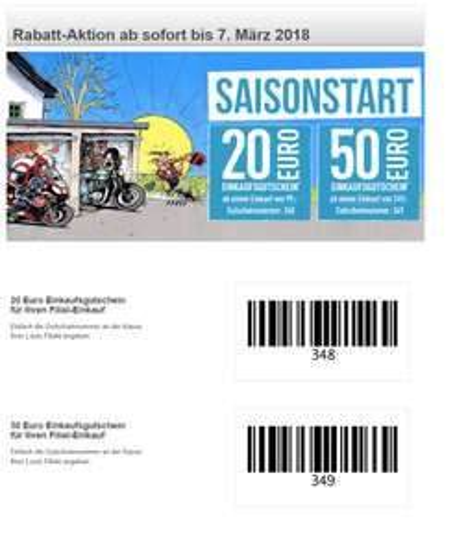 Louis Motorrad Saisonstart 20% Rabatt