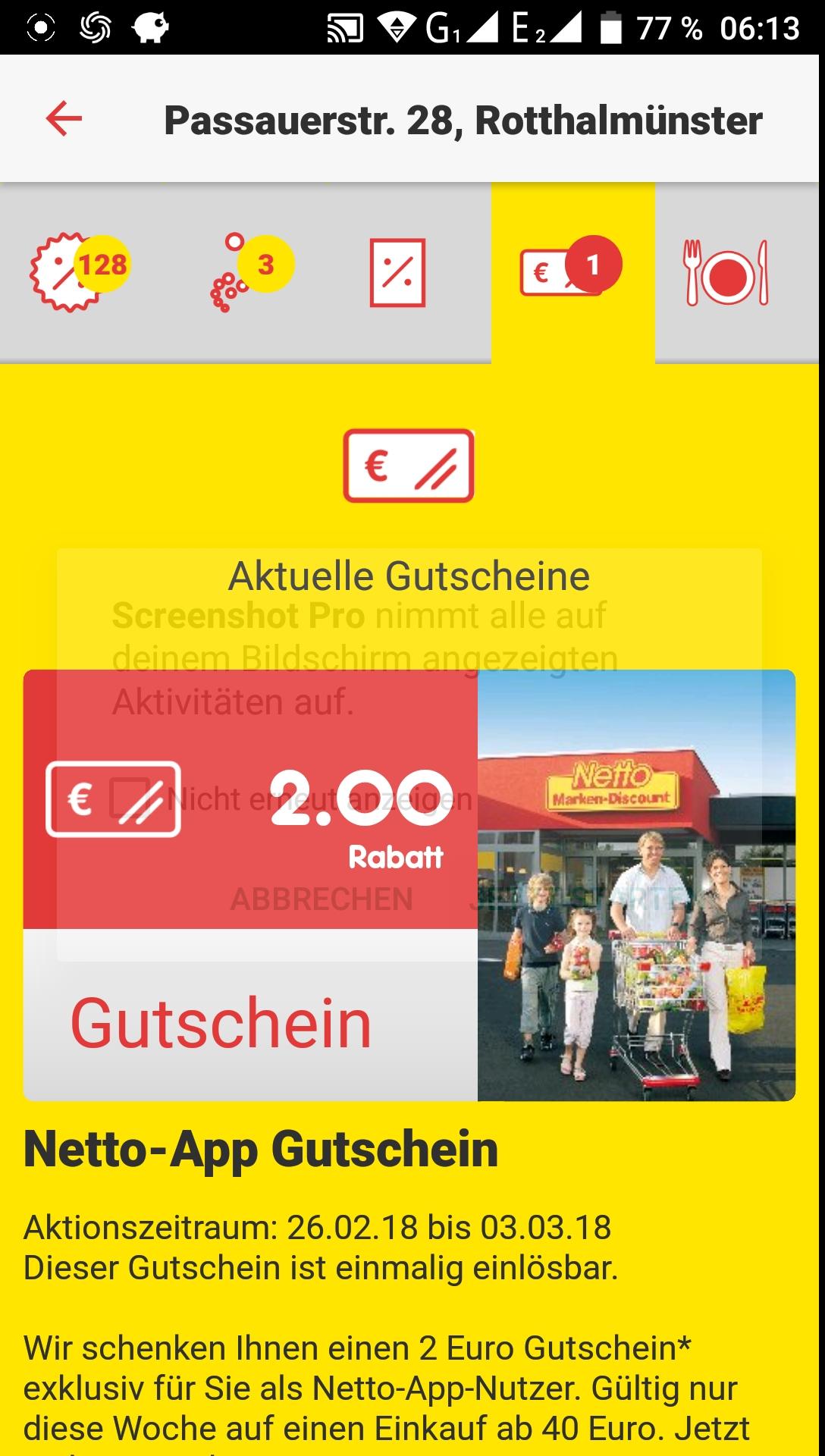 Lokal Netto 2 Euro ab 40 Euro Einkaufen