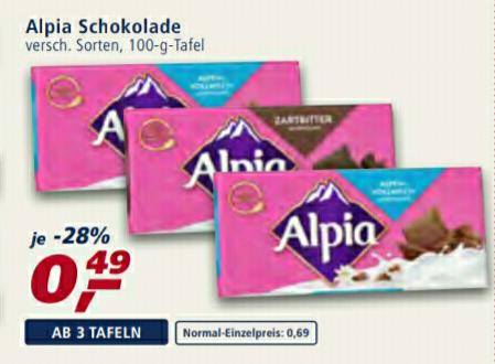 Real: 3x Alpia Schokolade -  beim Kauf von 3 Tafeln nur 0,49€ pro Tafel